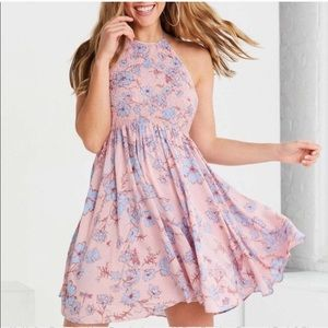 Kimchi Blue Floral Backless Dress Pink and Blue